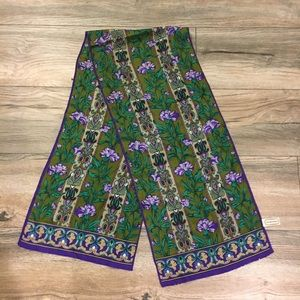Purple and green floral silk scarf